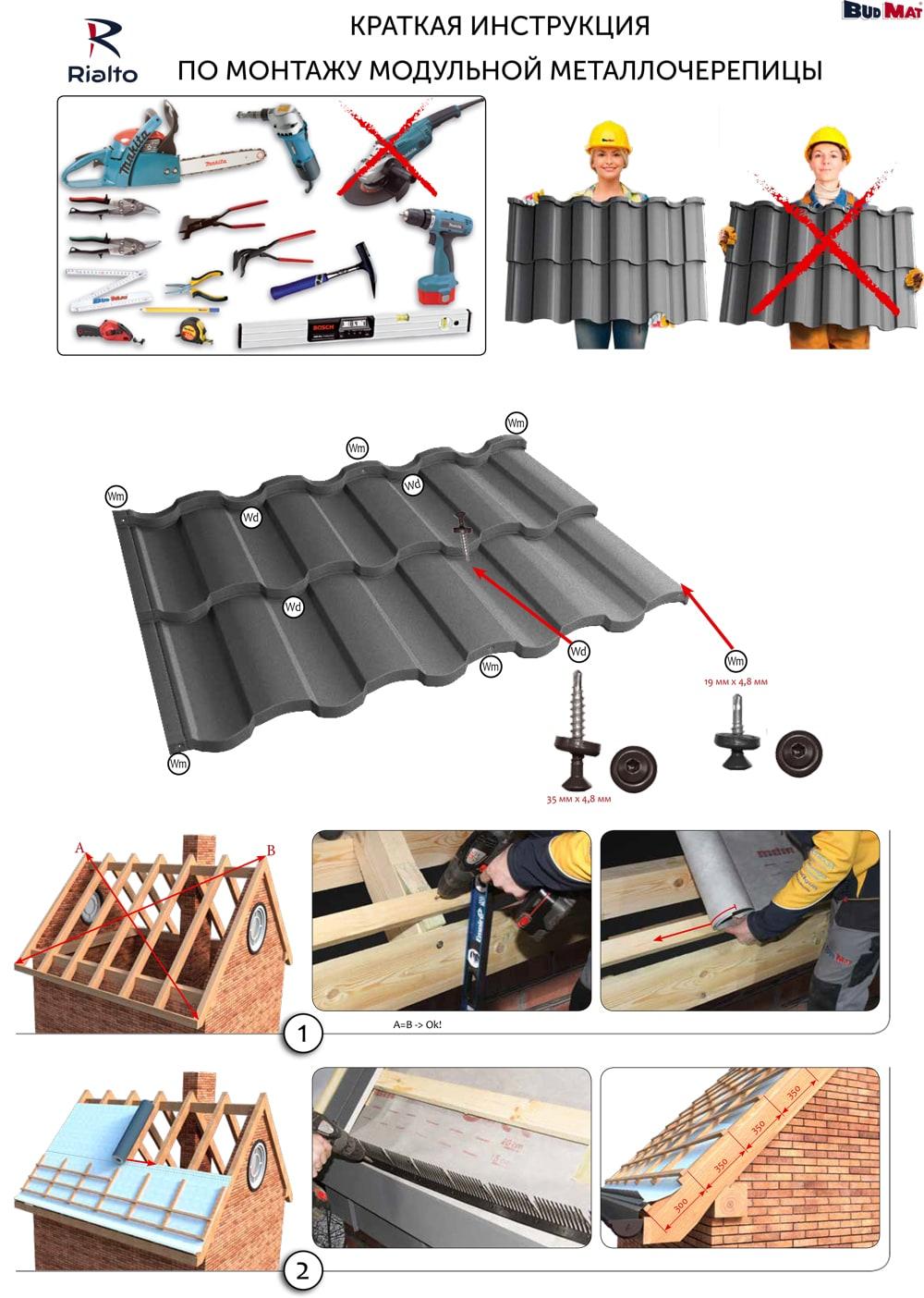 Монтаж модульной металлочерепицы в минске